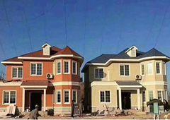 湖北两兄弟建双胞胎轻钢别墅